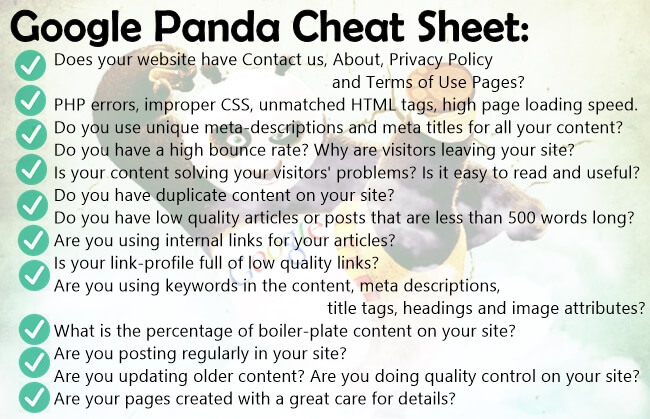 panda cheat sheet